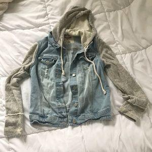 Crop Jean Jacket with hoodie